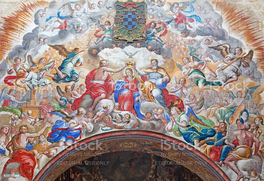 Salamanca - The fresco of Coronation of Virgin Mary stock photo