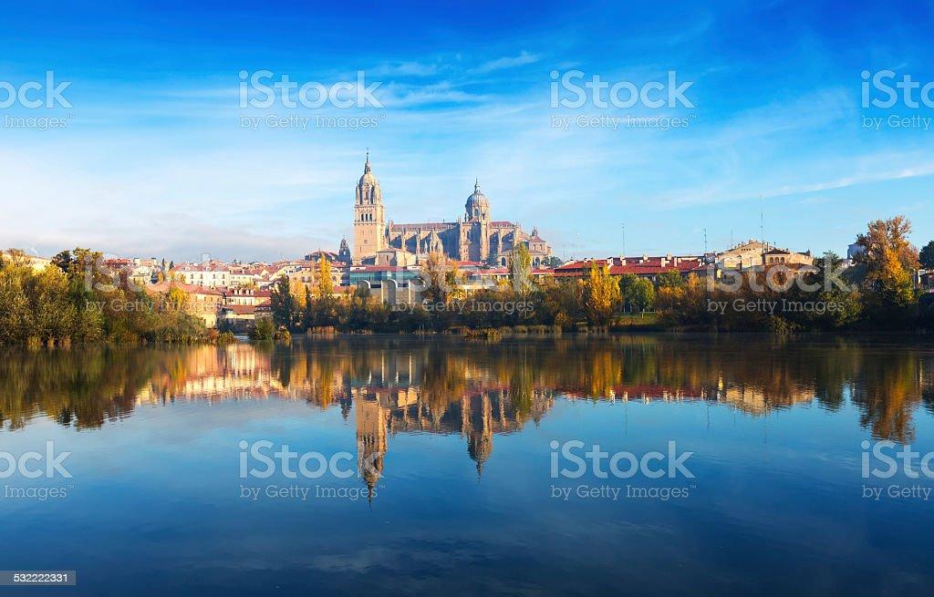 Salamanca with Tormes River stock photo
