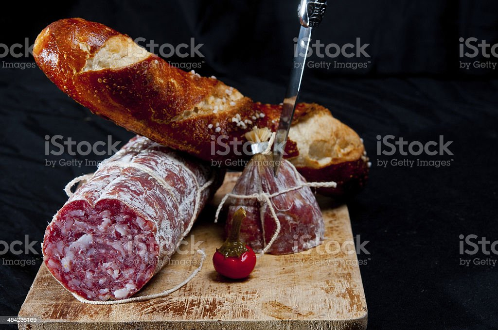 Salami and bread stock photo