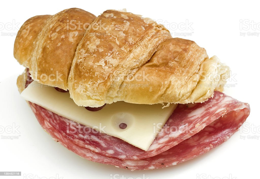 Salami and cheese mini croissant sandwich royalty-free stock photo