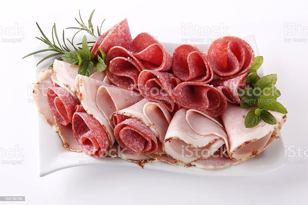Salami and ham royalty-free stock photo