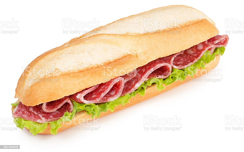 salami and lettuce sub stock photo