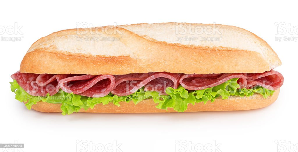 salami and lettuce sub sandwich stock photo