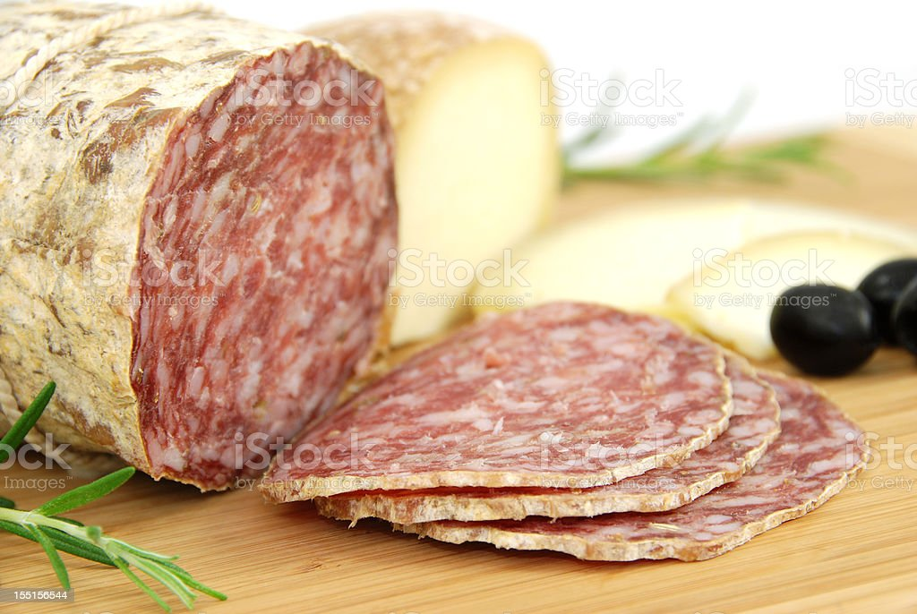 salami and pecorino royalty-free stock photo