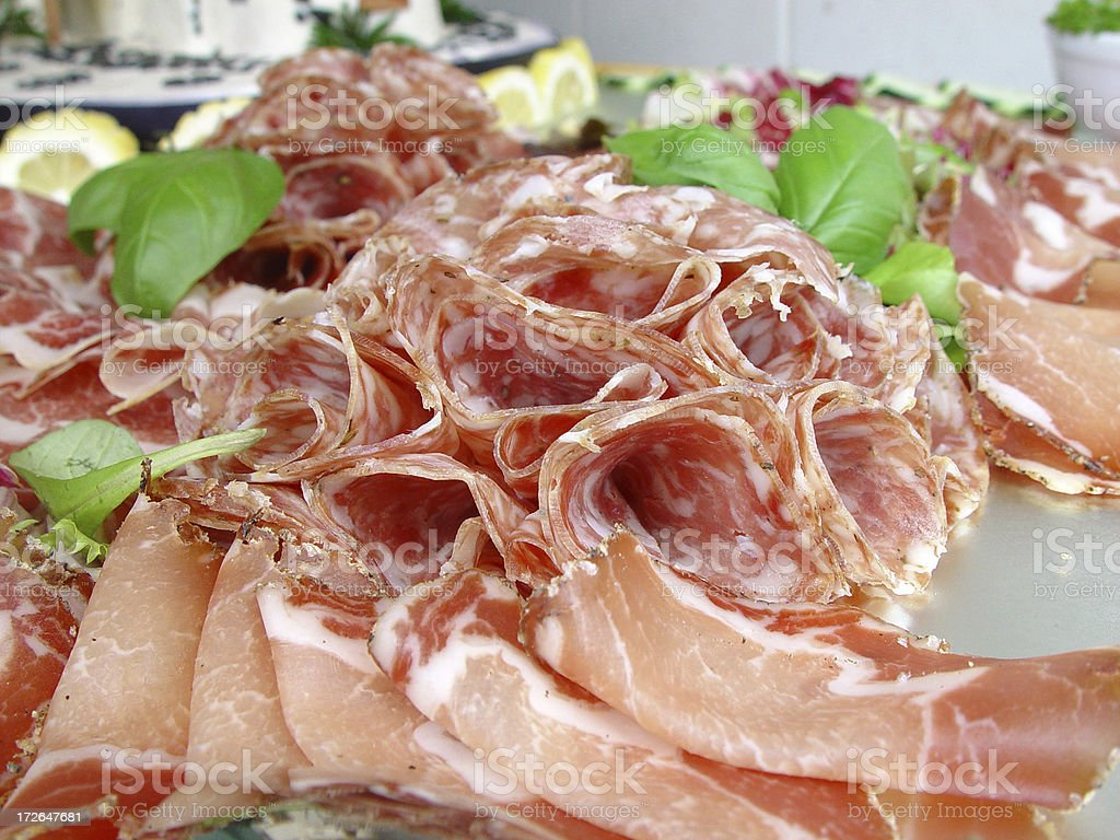 Salami and Prosciutto Buffet royalty-free stock photo