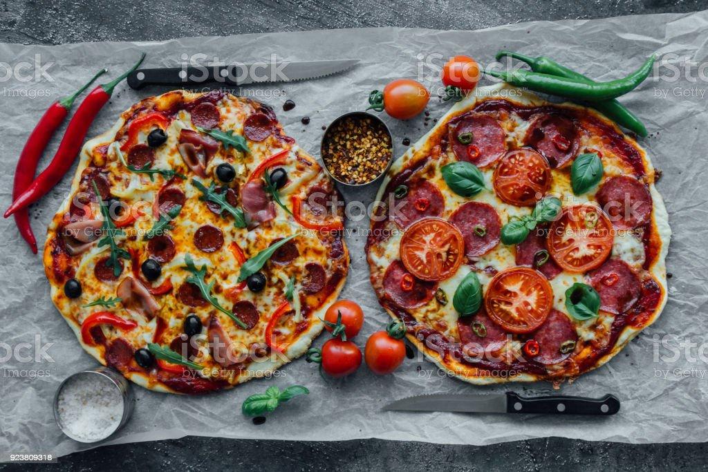 salami and sausage pizza stock photo