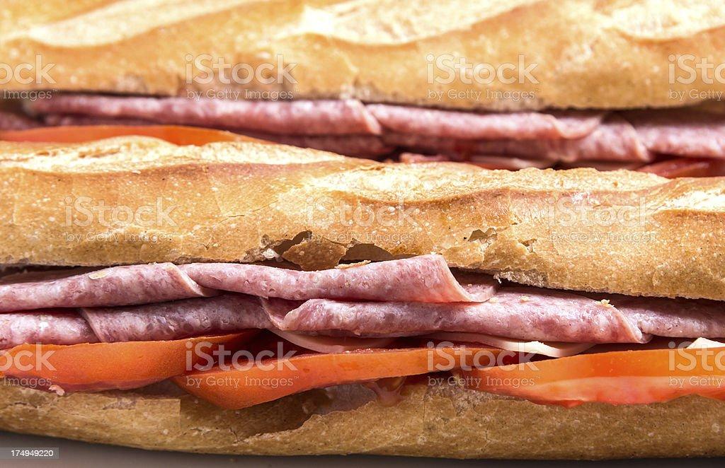Salami and tomato sandwich royalty-free stock photo