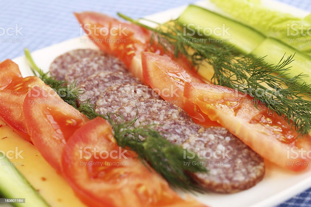 Salami and vegetables royalty-free stock photo