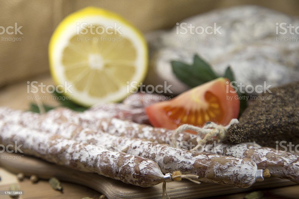 Salami close-up royalty-free stock photo