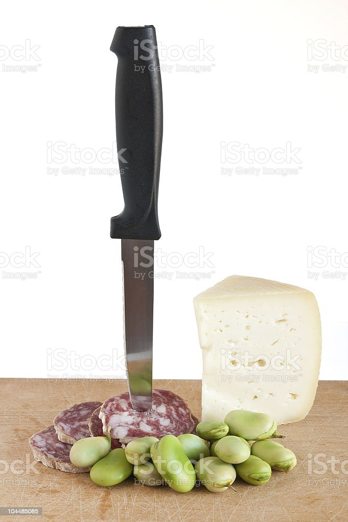 salami pecorino cheese and broad beans royalty-free stock photo