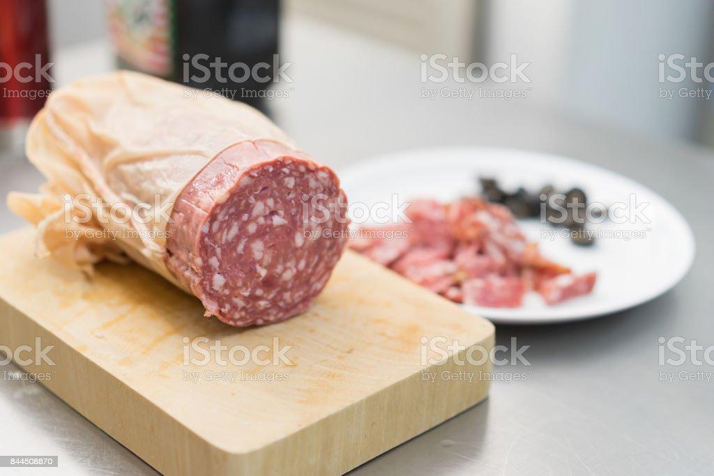 Salami pepperoni stock photo
