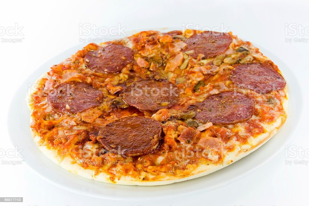 salami pizza royalty-free stock photo