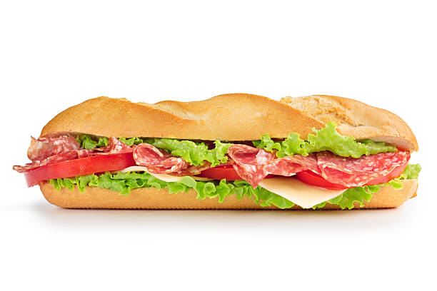 salami sandwich isolated on white stock photo
