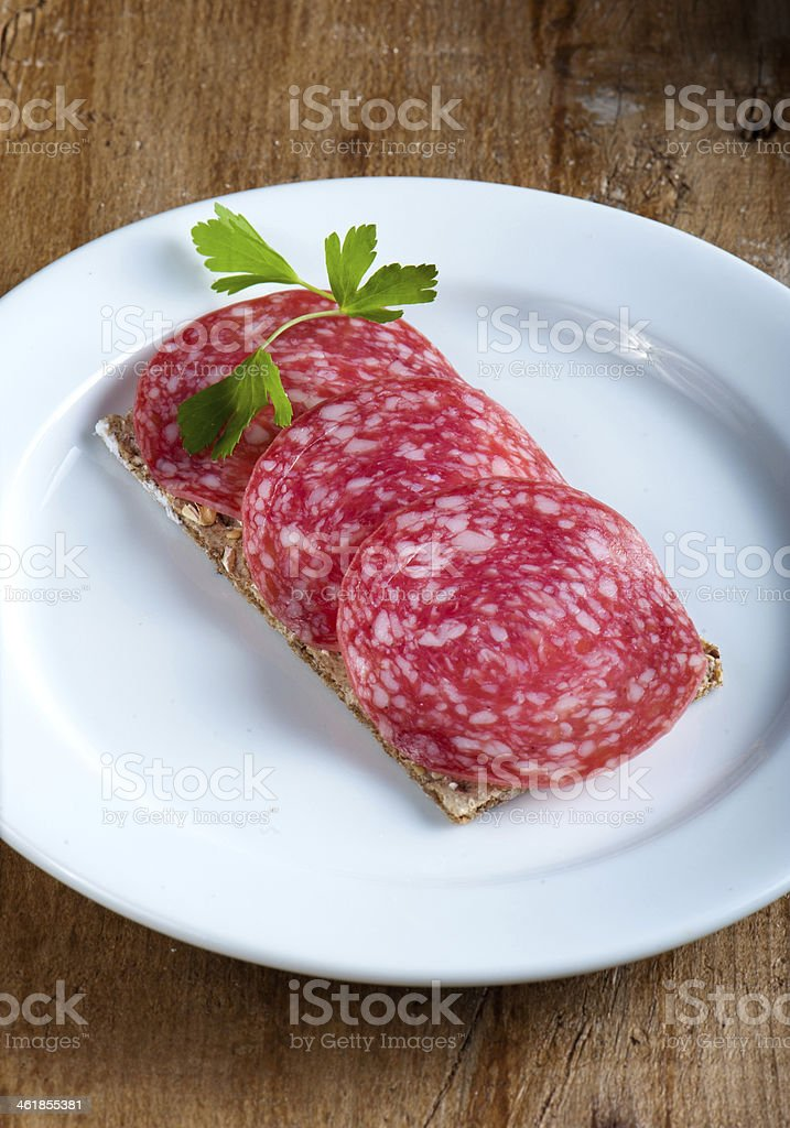 Salami sandwich stock photo