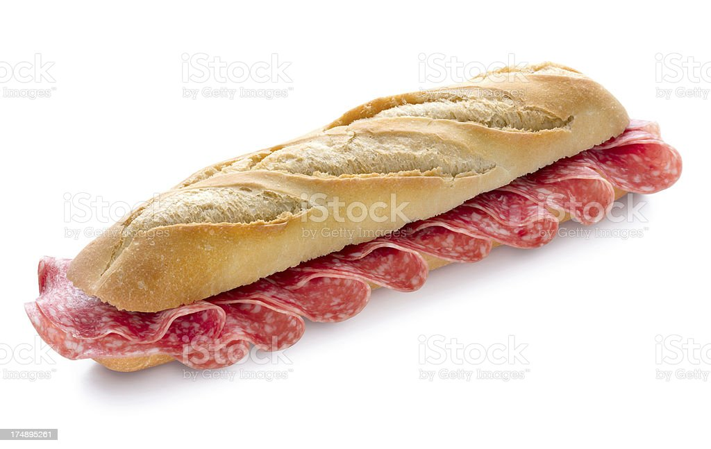 Salami Sandwich with Clipping Path stock photo