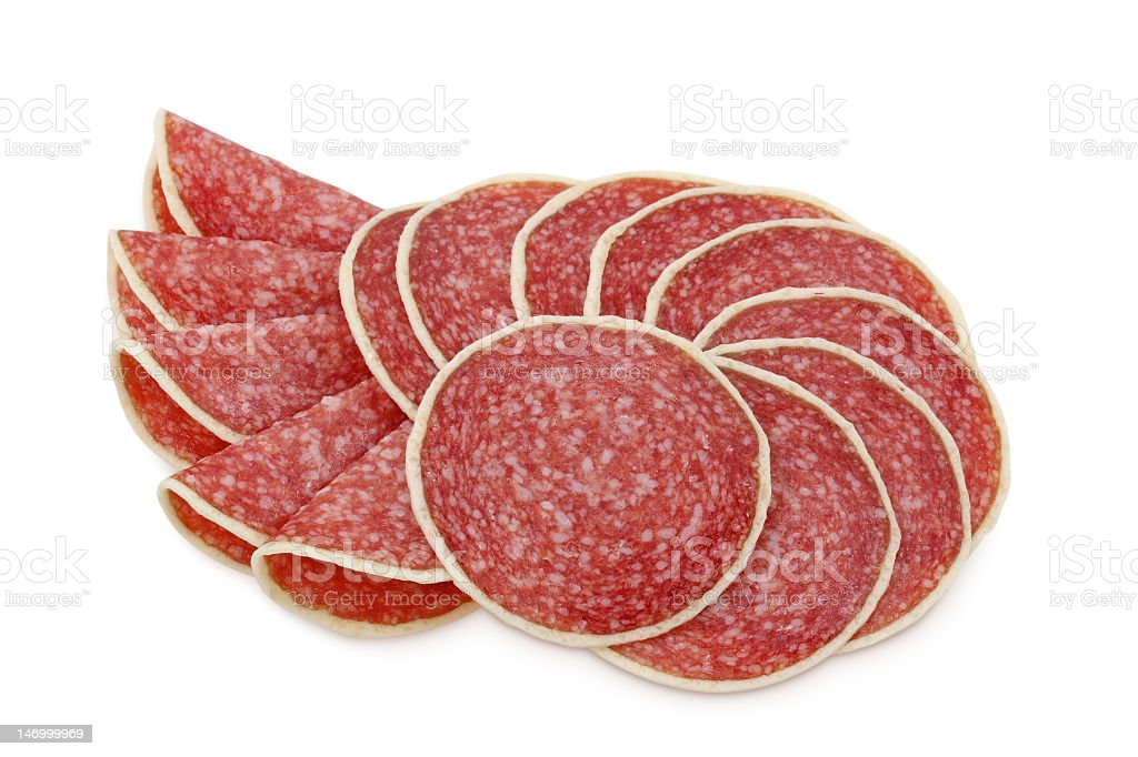 Salami sliced and arranged in a pattern royalty-free stock photo