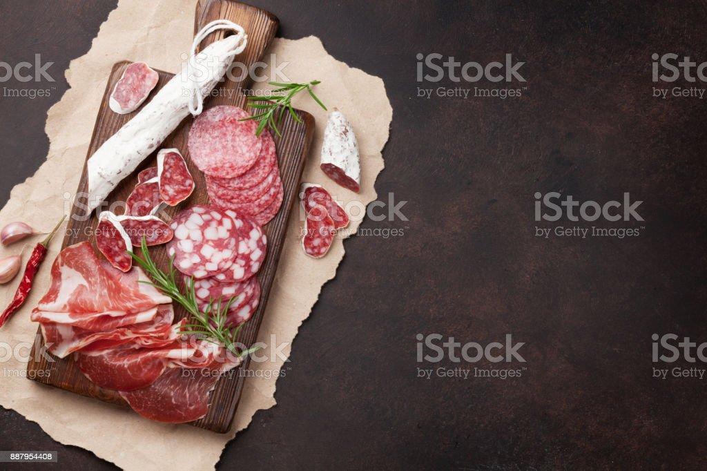 Salami, sliced ham, sausage, prosciutto stock photo