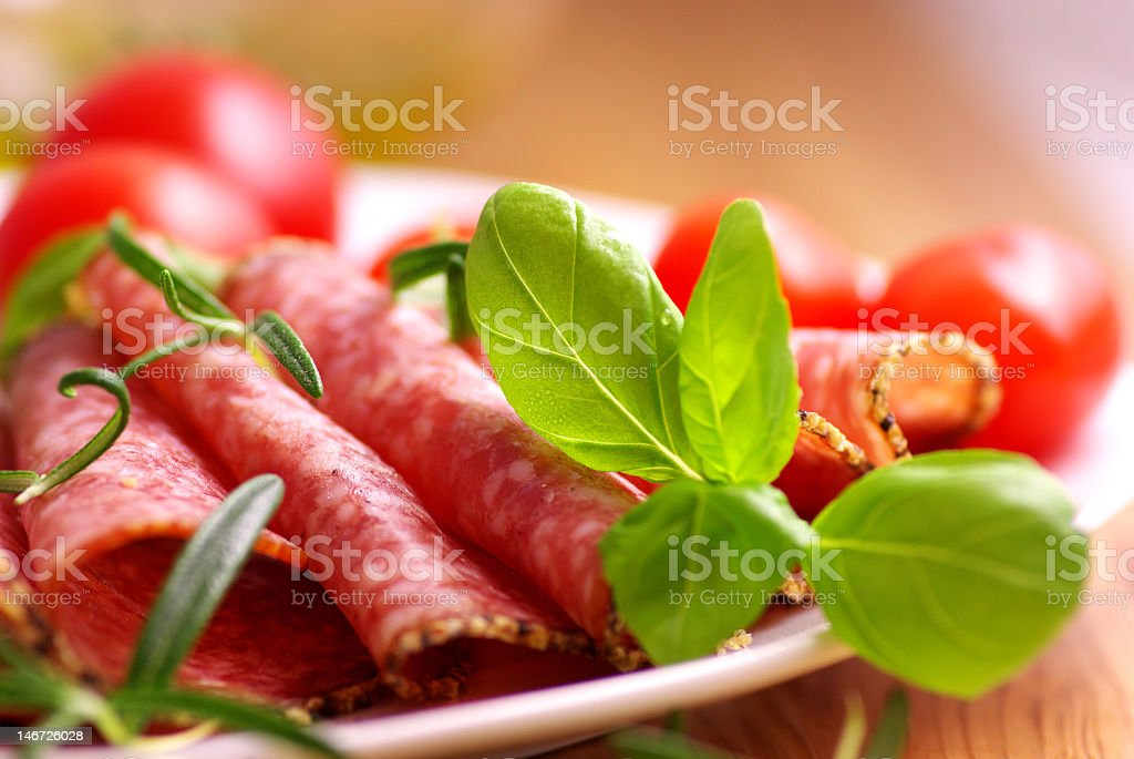 Salami with Herbs royalty-free stock photo
