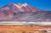 'The salt lake Salar de Talar with surrounding volcanoes in the Atacama Desert, Chile.'