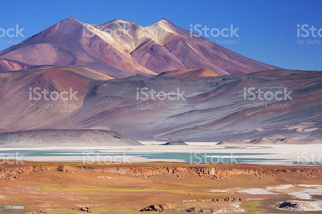 Salar de Talar and surrounding volcanoes, Atacama Desert, Chile stock photo