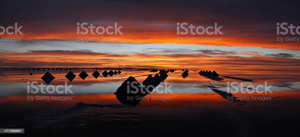Salar De Uyuni Sunset Panorama Stock Photo Download Image