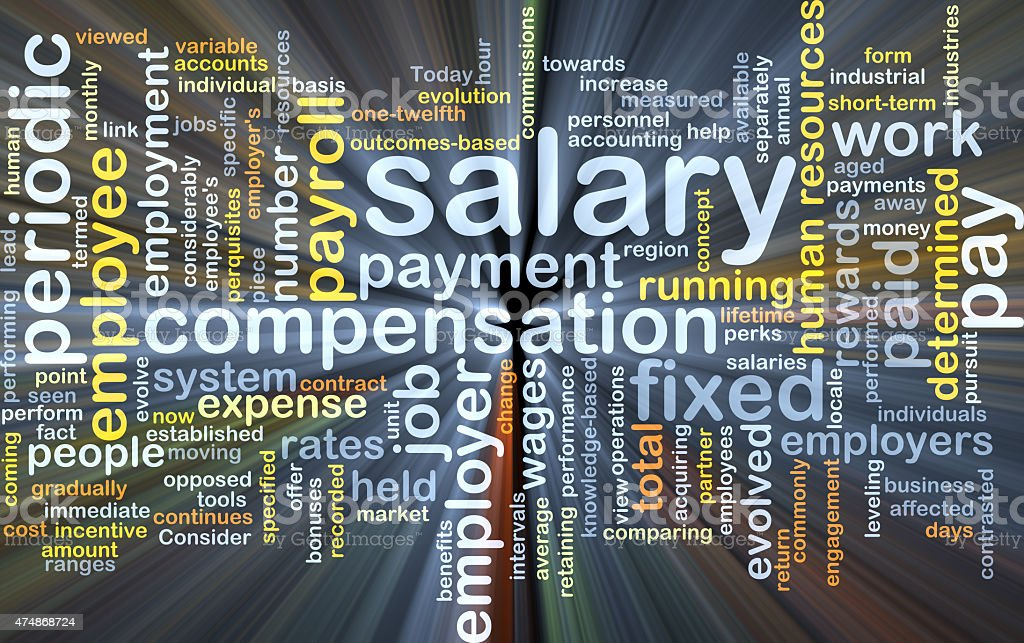 Salary background concept glowing stock photo