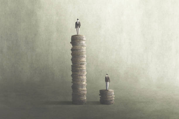 salary comparison, inequality concept stock photo