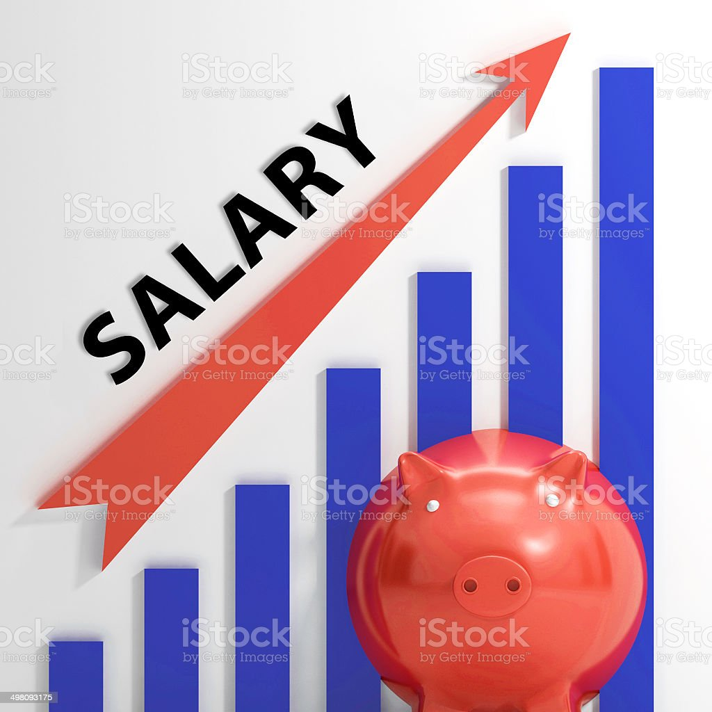 Salary Graph Shows Increase In Work Earnings stock photo