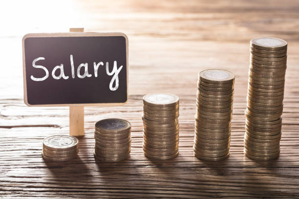 Salary Text On Small Chalk Board With Coin Stack Close-up Of Salary Text On Small Chalk Board With Increasing Coin Stack On Wooden Table wages stock pictures, royalty-free photos & images