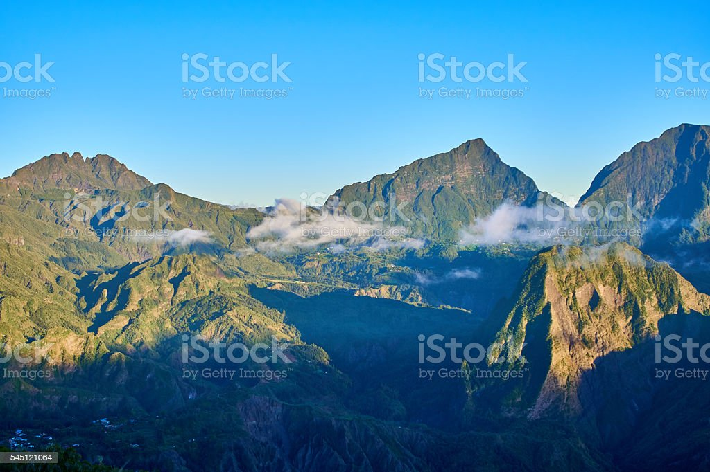Salazie cirque morning fogs stock photo