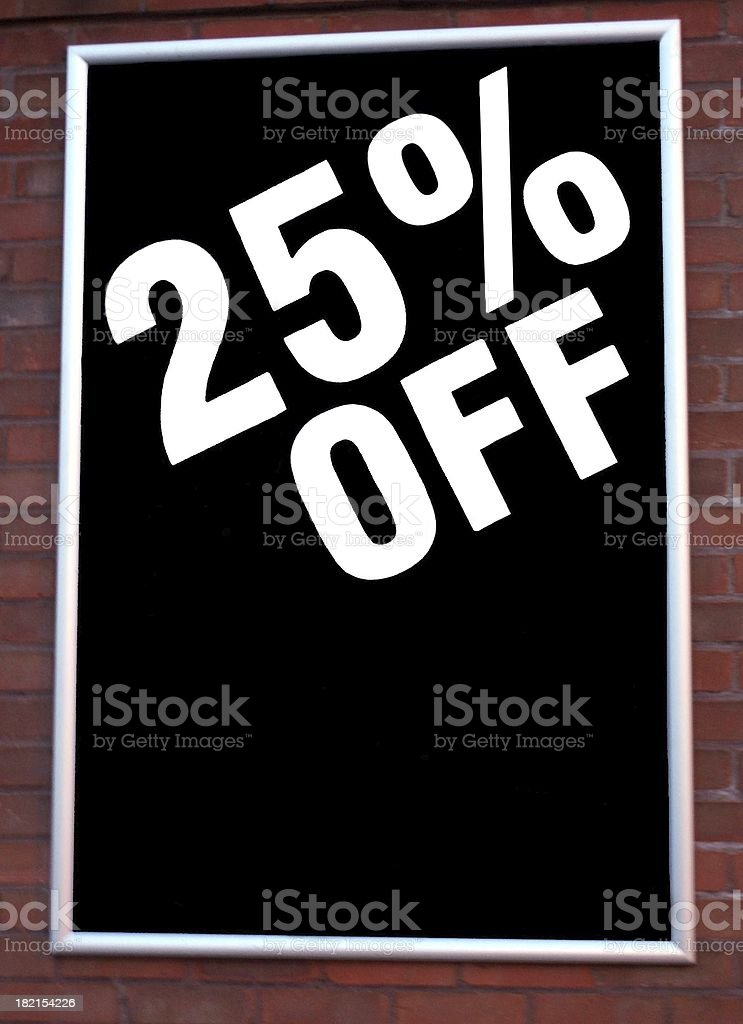 sale 25% off sign stock photo