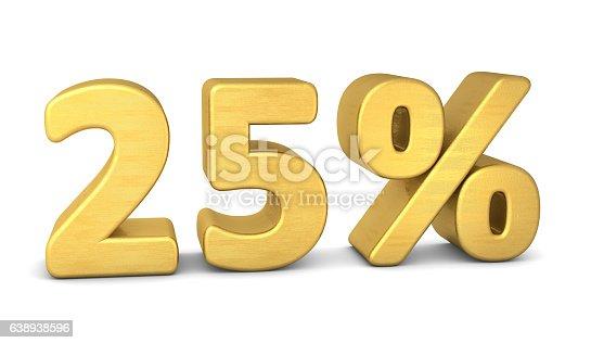 istock Sale 25 percent symbol 3d gold 638938596