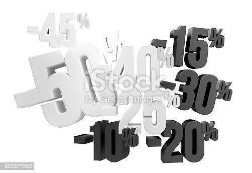 istock 50% 45% 40% 30% 20% 15% 10% sale 3d render 622277252