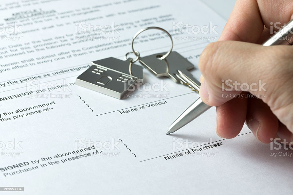 Sale and purchase agreement stock photo