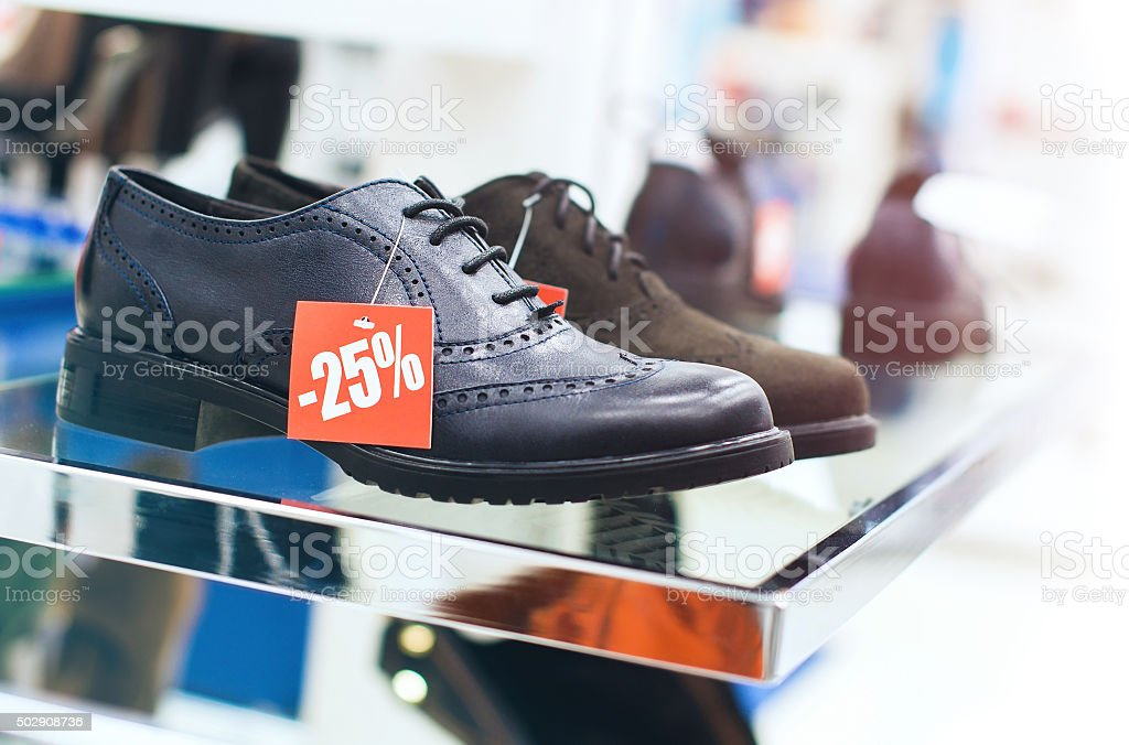 Sale at the shoe store stock photo