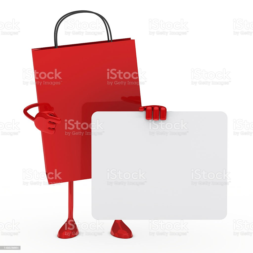 Sale bag hold billboard royalty-free stock photo