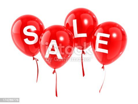 Balloon with a word SALE. Isolated on white with clipping path. 3D render.