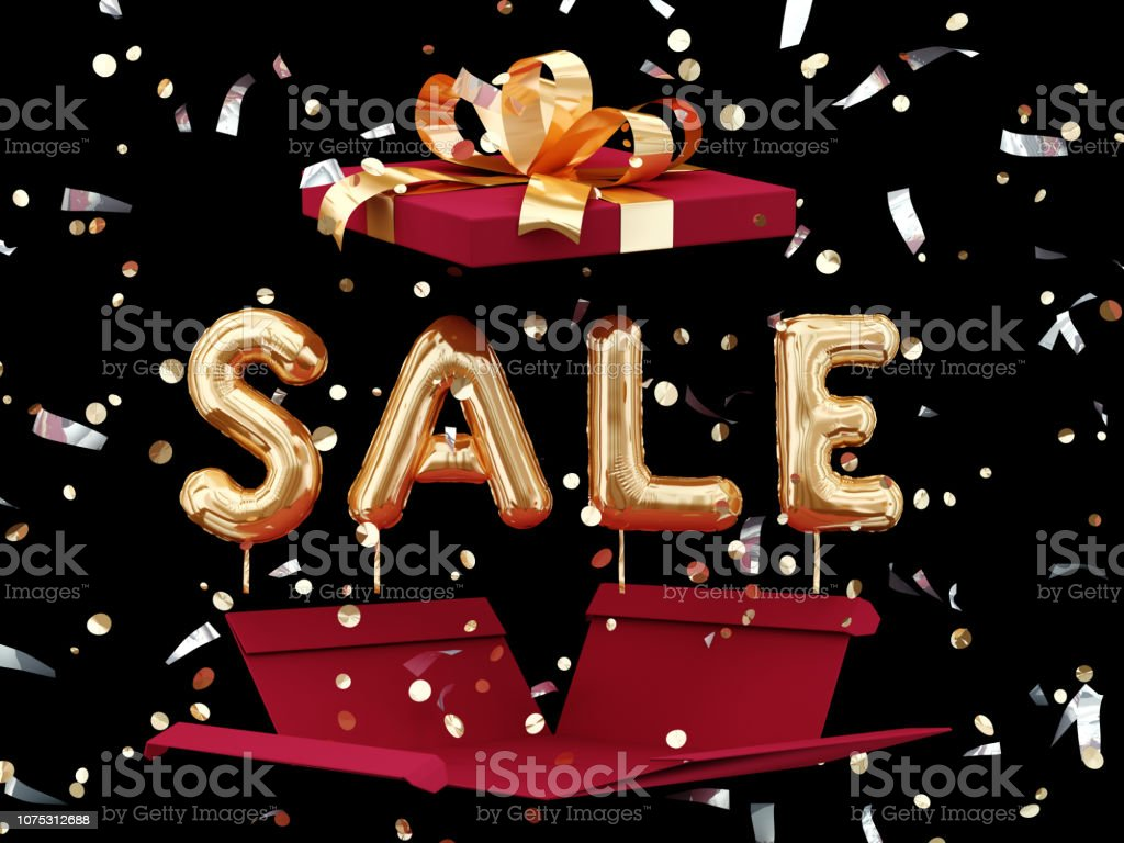 Sale banner and open gift box on black, discount concept stock photo