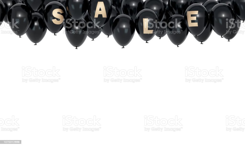 Sale Banner many black balloons isolated on white stock photo