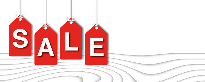 Sale Banner on white background, Space for the Text, sale concept, paper cut design style.