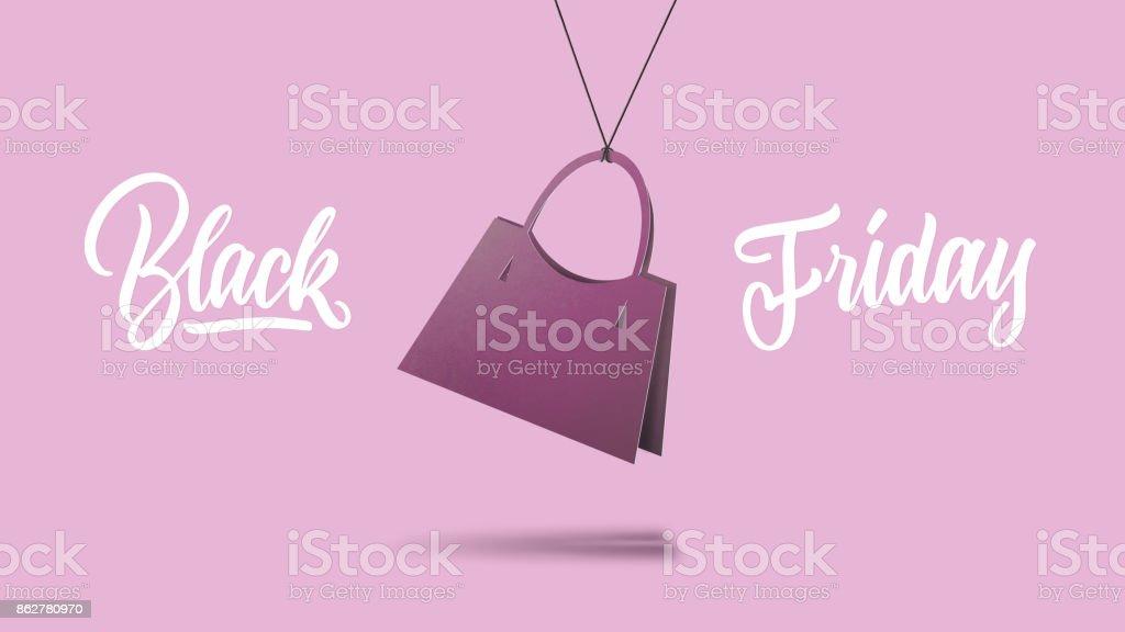 sale concept, handmade cardboard handbag stock photo