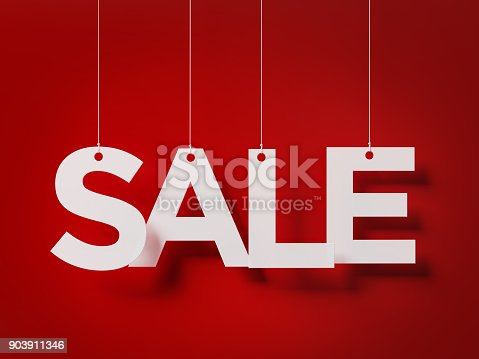 istock Sale Concept -  Sale Text With Strings Over Red Background 903911346