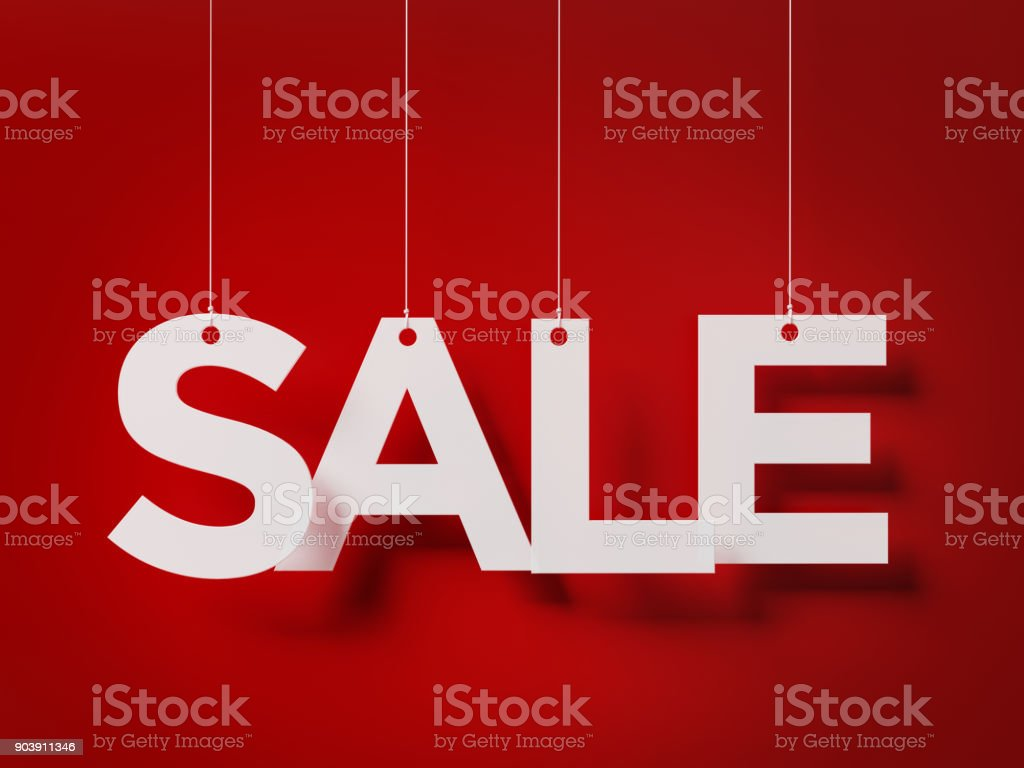 Sale Concept -  Sale Text With Strings Over Red Background stock photo