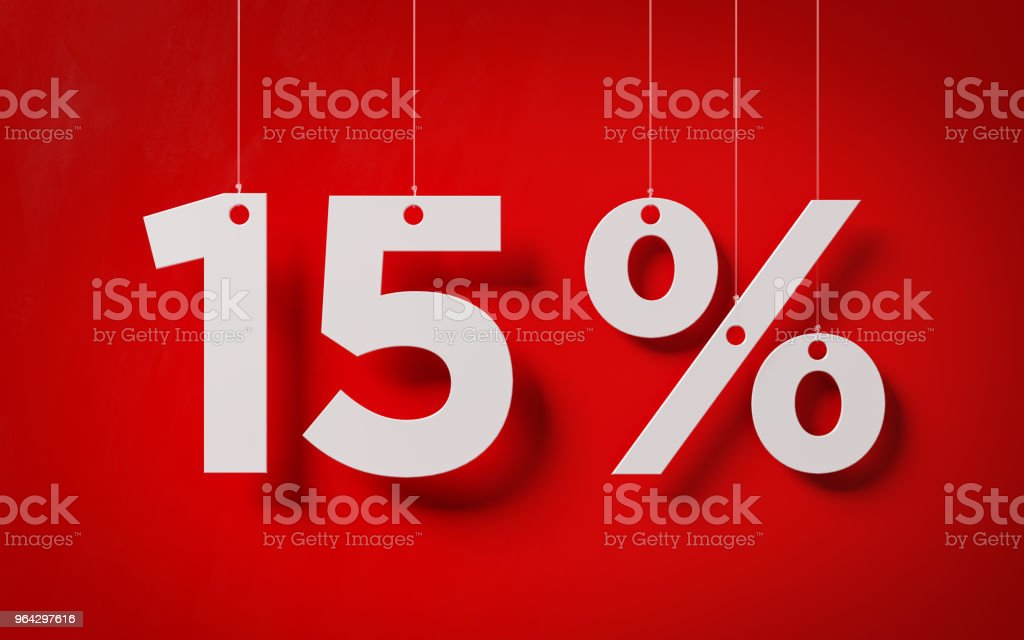 Sale Concept -White Fifteen Percent Text With Strings Over Red Background stock photo