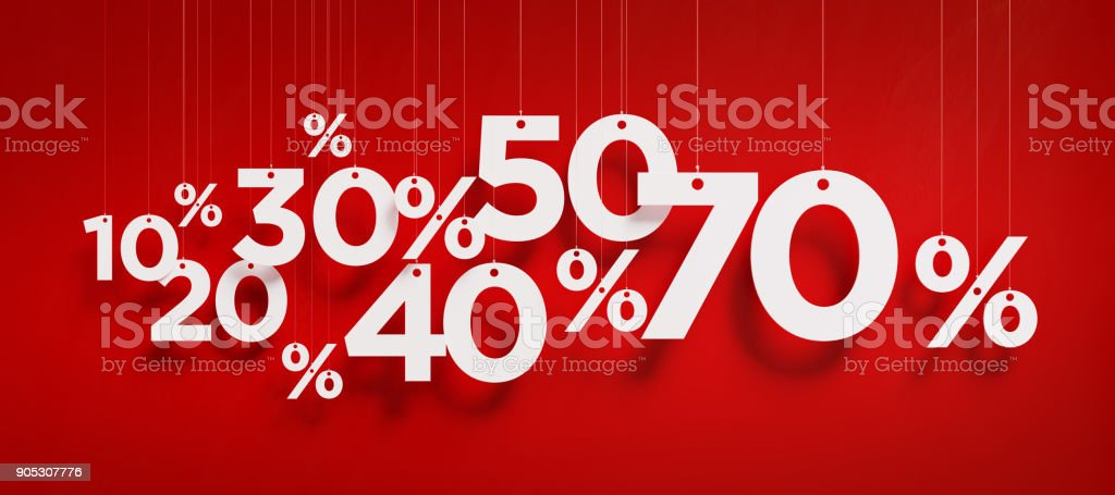 Sale Concept - White Percentage Signs Over Red Background stock photo