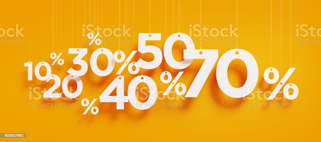 Sale Concept - White Percentage Signs Over Yellow Background royalty-free stock photo
