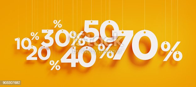 Percentage signs with white strings over yellow background. Horizontal composition with copy space. Clipping path is included. Great use for shopping and Valentine's Day Christmas and Mother