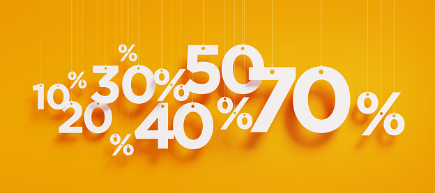 Sale Concept - White Percentage Signs Over Yellow Background
