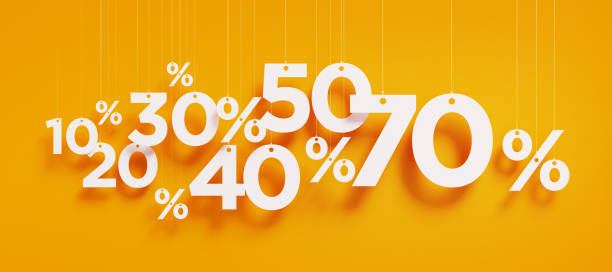 Sale Concept - White Percentage Signs Over Yellow Background stock photo