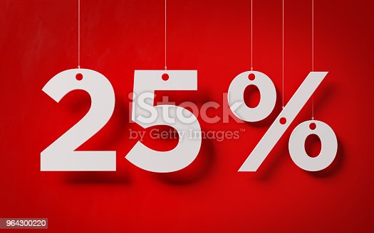 White twenty five percent text with  white strings over red background. Horizontal composition with copy space.